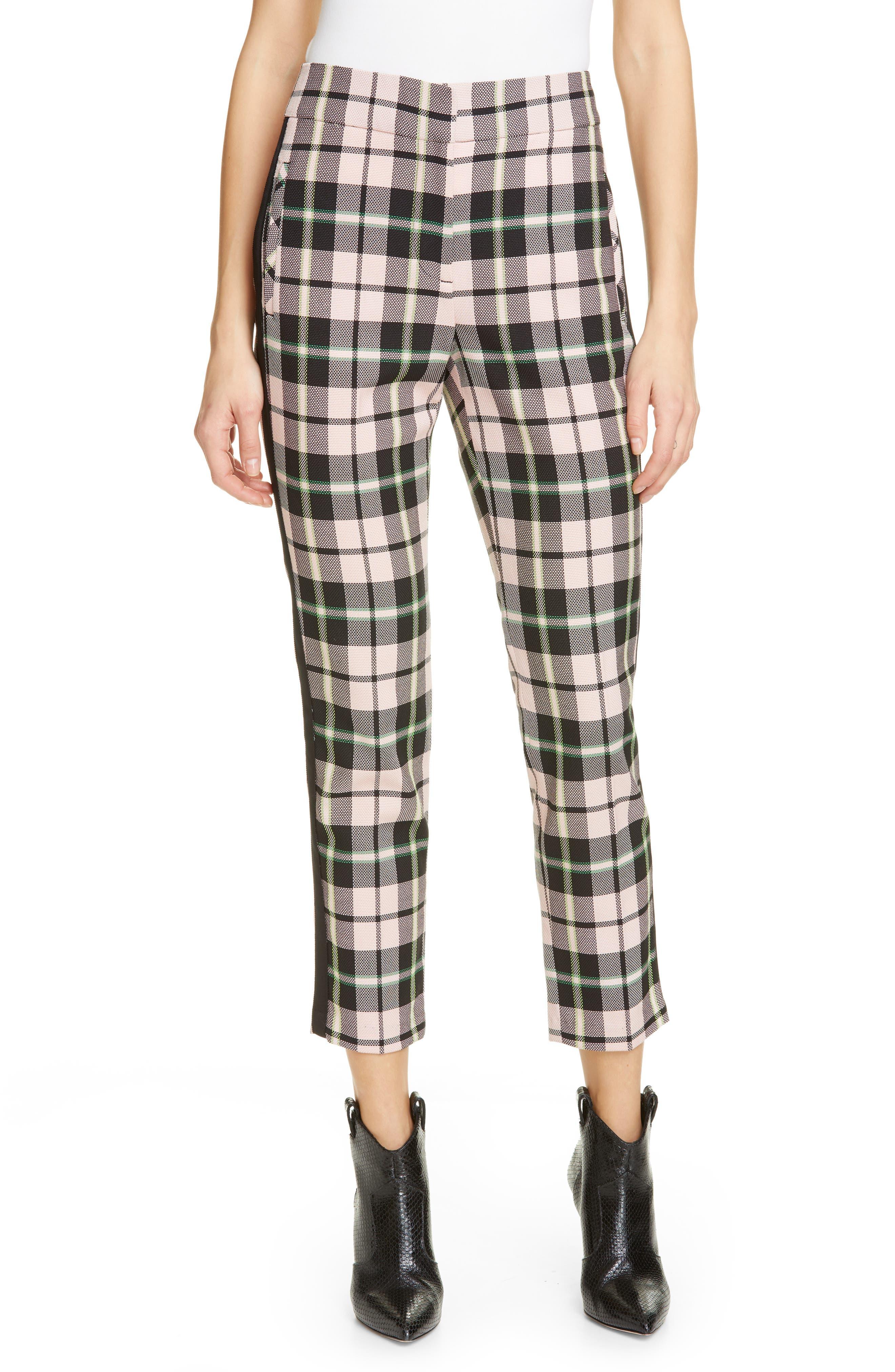 Gemini Plaid Crop Trousers, Main, color, PINK MULTI