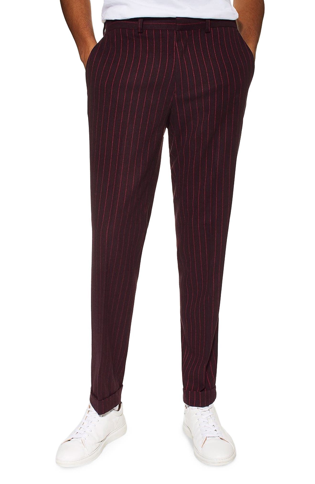 Rocky Slim Fit Pinstripe Trousers, Main, color, NAVY BLUE