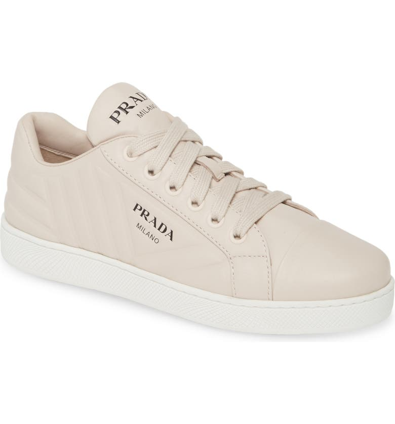 PRADA Quilted Low Top Sneaker, Main, color, GREY