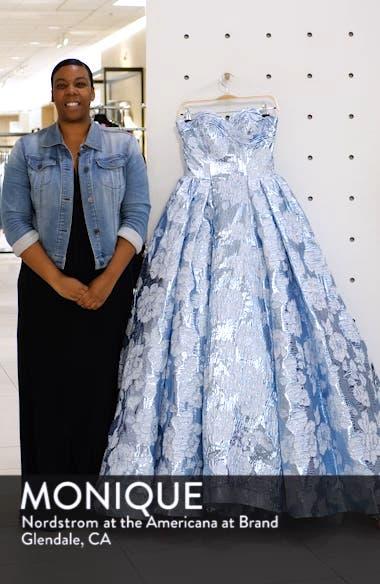 Strapless Metallic Floral Jacquard Prom Dress, sales video thumbnail
