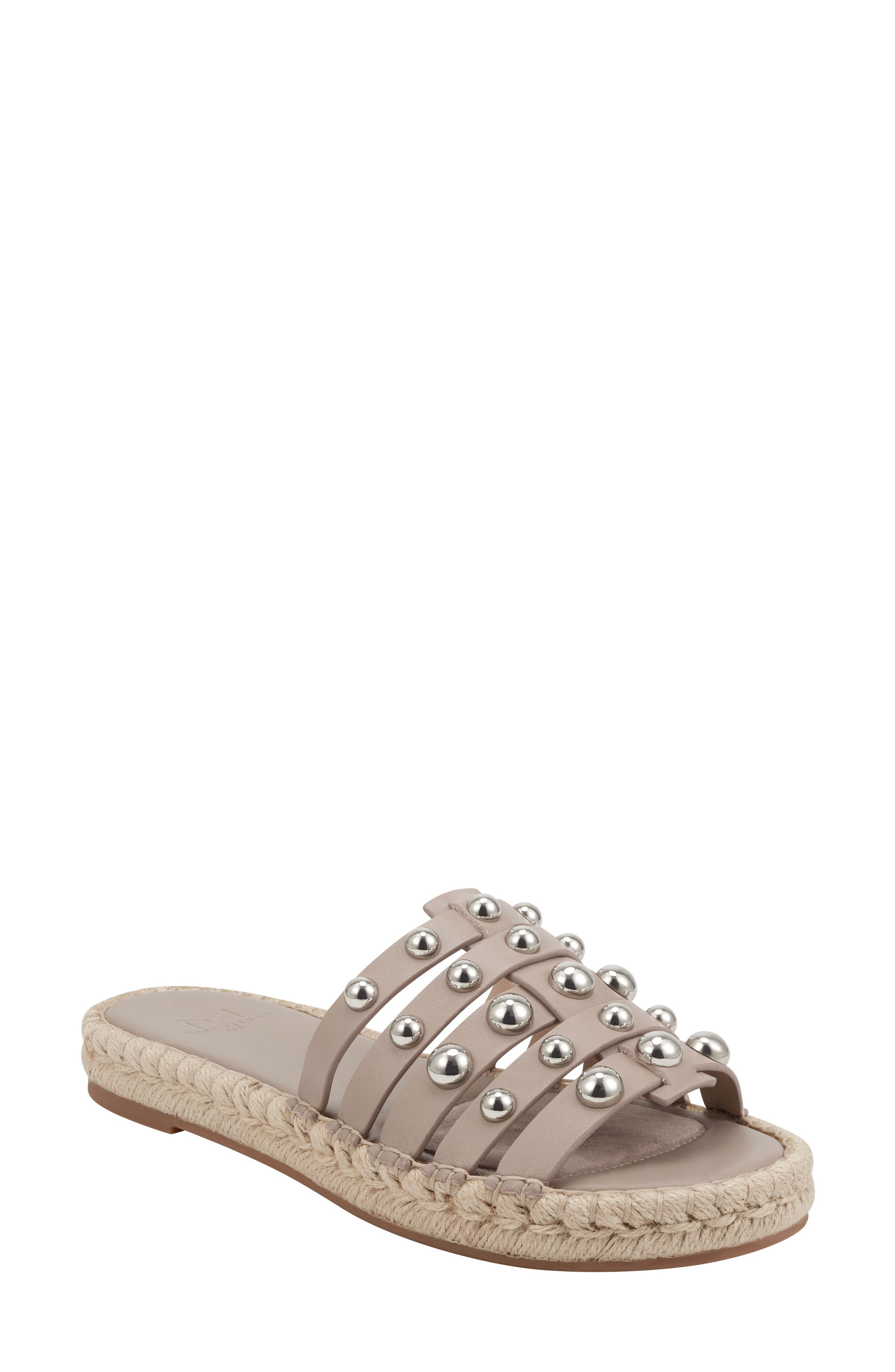 An espadrille-style platform updates an edgy, studded slide sandal with summery appeal. Style Name: Marc Fisher Ltd Tamie Espadrille Slide Sandal (Women). Style Number: 6003485. Available in stores.