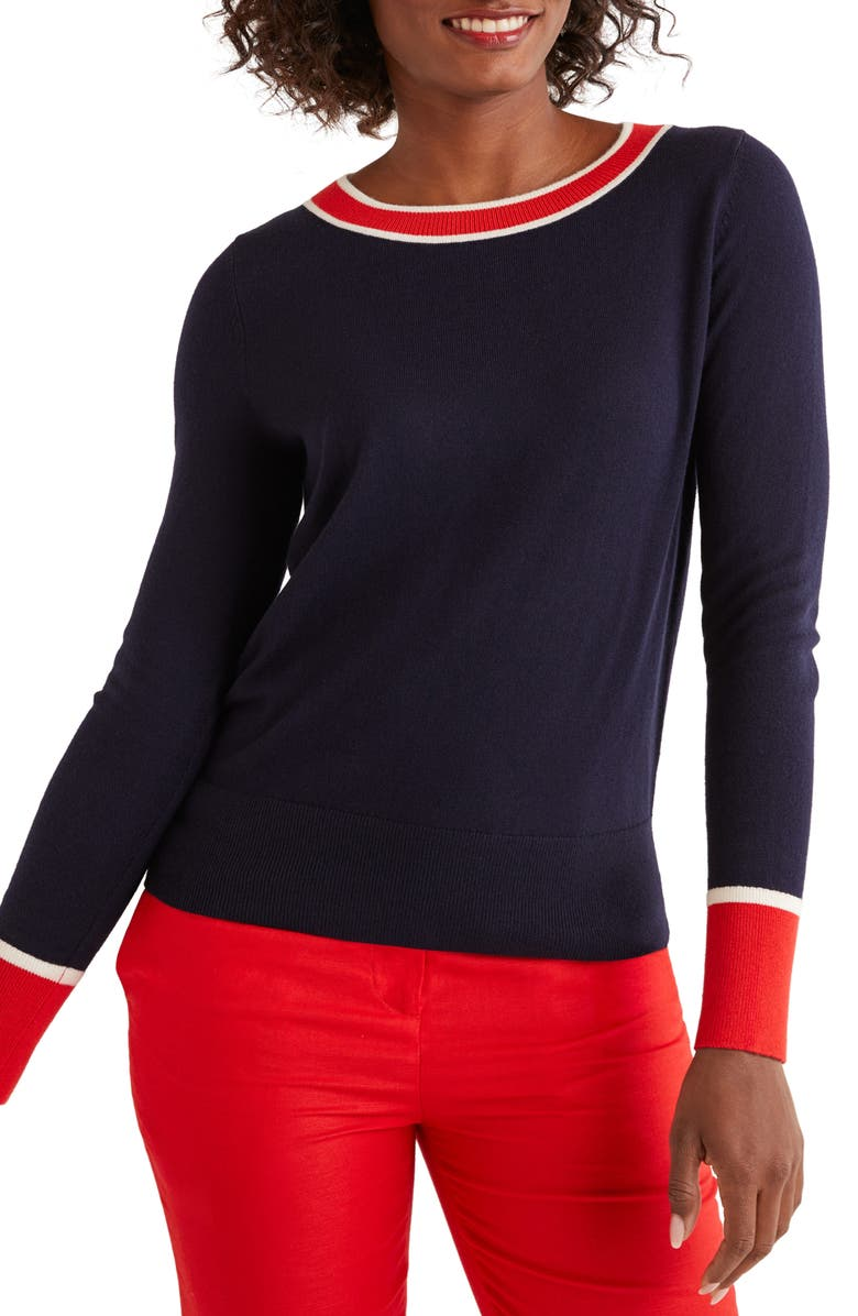 BODEN Norwich Button Back Sweater, Main, color, NAVY