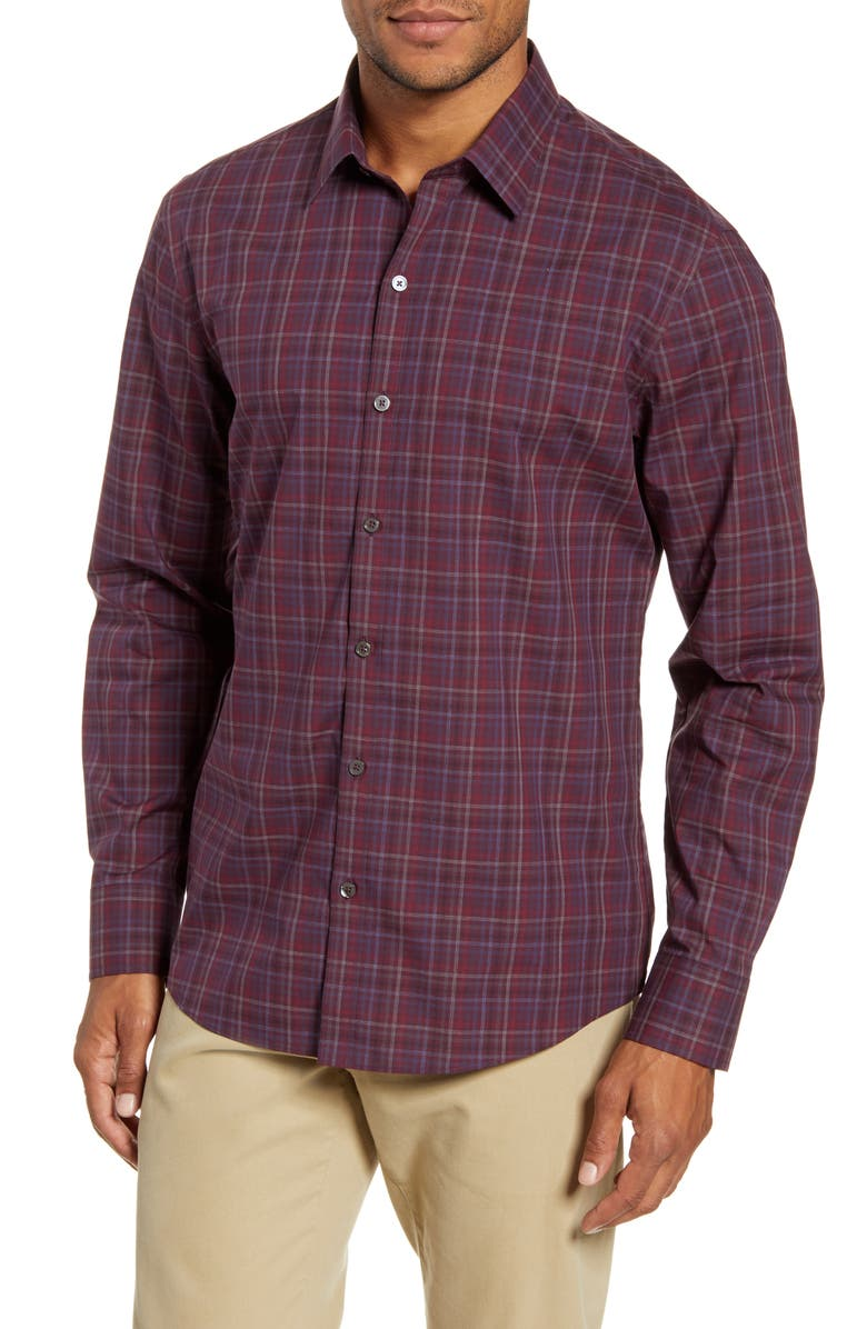 ZACHARY PRELL Dimich Regular Fit Plaid Button-Up Shirt, Main, color, WINE