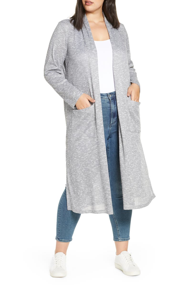 BOBEAU Ribbed Long Cardigan, Main, color, HEATHER GREY