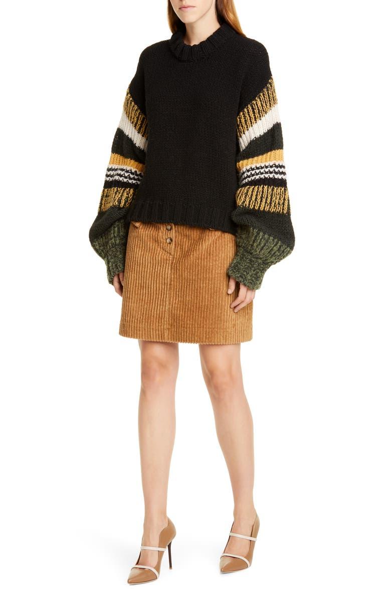 BAUM UND PFERDGARTEN Claudine Stripe Sleeve Sweater, Main, color, BLACK MIX