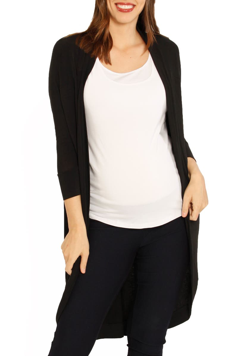 ANGEL MATERNITY Scooped Maternity Cardigan, Main, color, BLACK