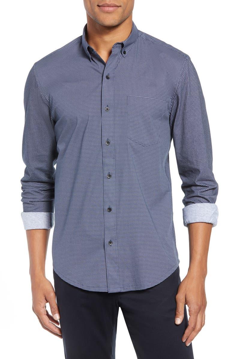 W.R.K Reworked Slim Fit Grid Print Sport Shirt, Main, color, 410