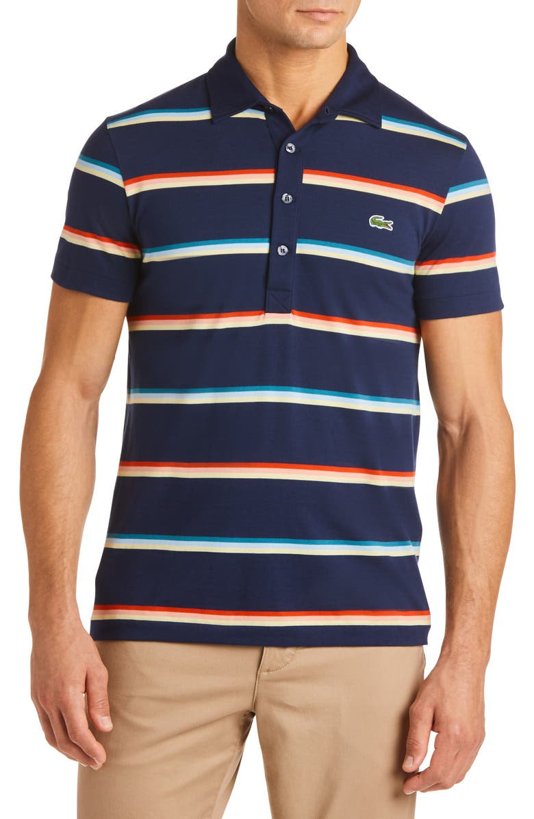 LACOSTE Striped Regular Fit Jersey Polo, Main, color, 419