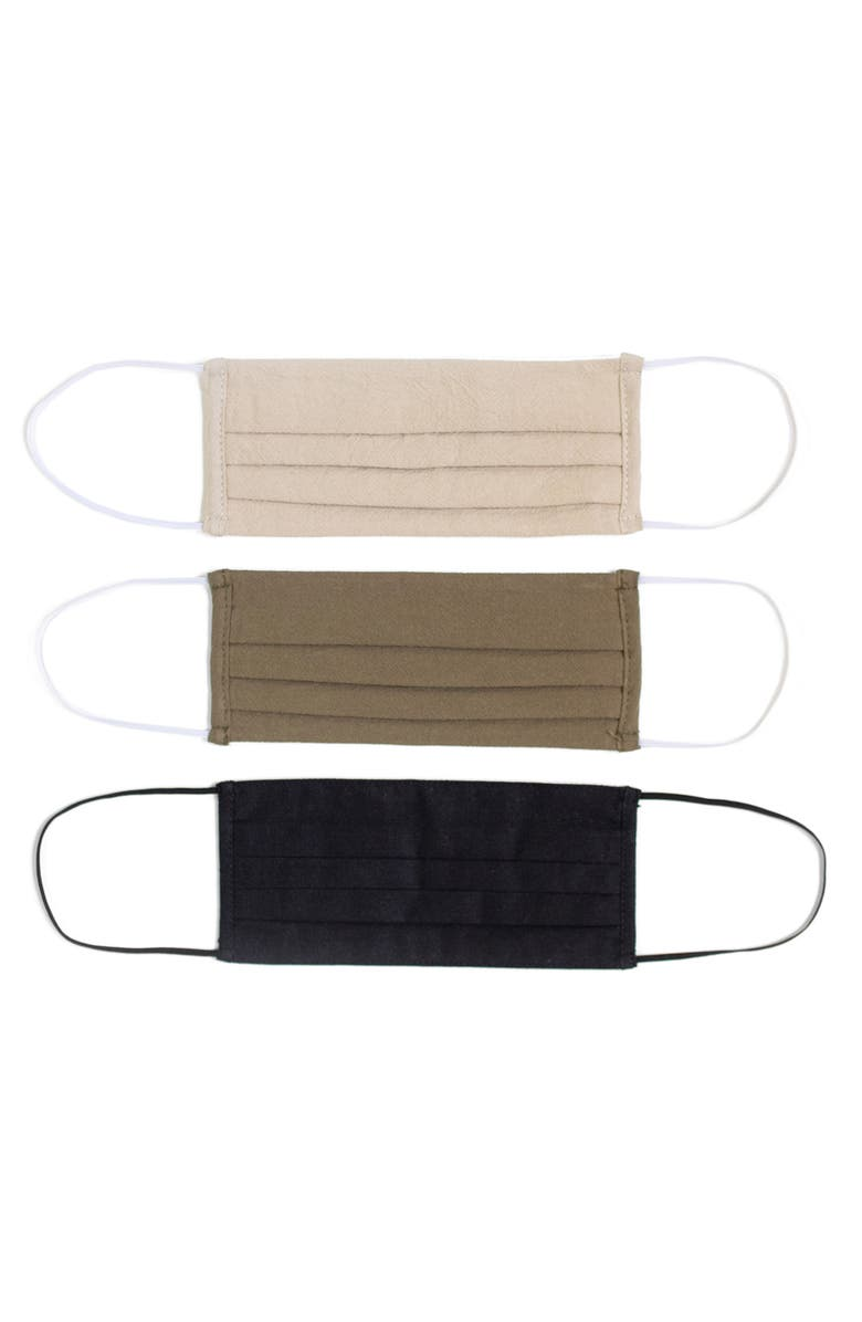 LOST + WANDER 3-Pack Pleated Face Masks, Main, color, OLIVE/ STONE/ BLACK