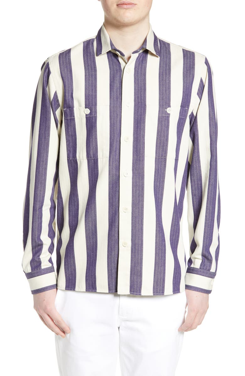 WAX LONDON Whiting Slim Fit Stripe Shirt, Main, color, 400