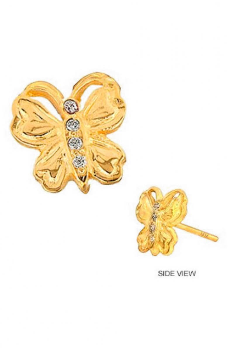 MINI MINI JEWELS Diamond Icon Butterfly Earring, Main, color, YELLOW GOLD