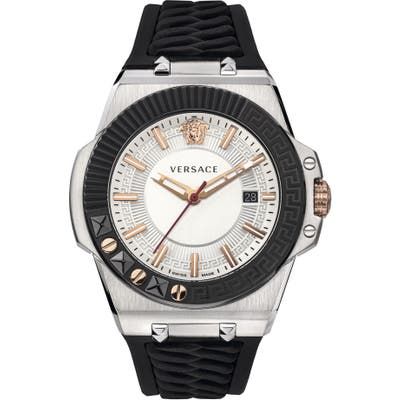 Versace Chain Reaction Silicone Strap Watch, 45Mm
