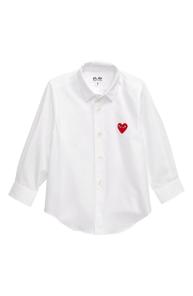 COMME DES GARÇONS PLAY Heart Appliqué Dress Shirt, Main, color, WHITE