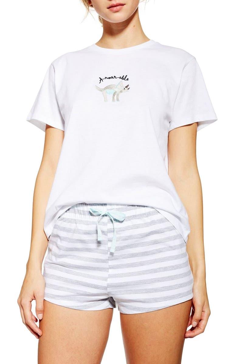 TOPSHOP Aroarable Short Pajamas, Main, color, 100