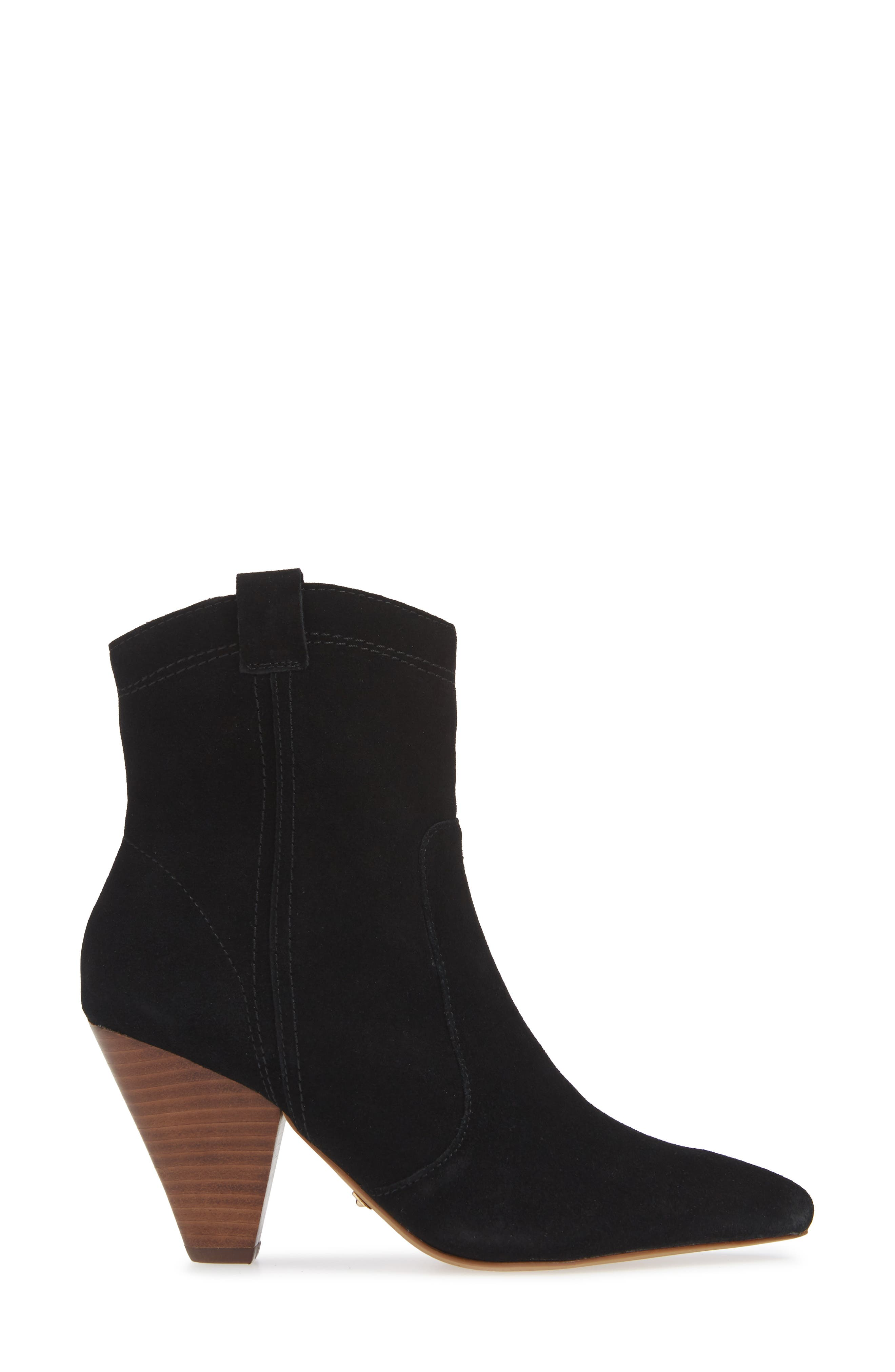 ,                             Kalila Pointy Toe Bootie,                             Alternate thumbnail 3, color,                             BLACK SUEDE