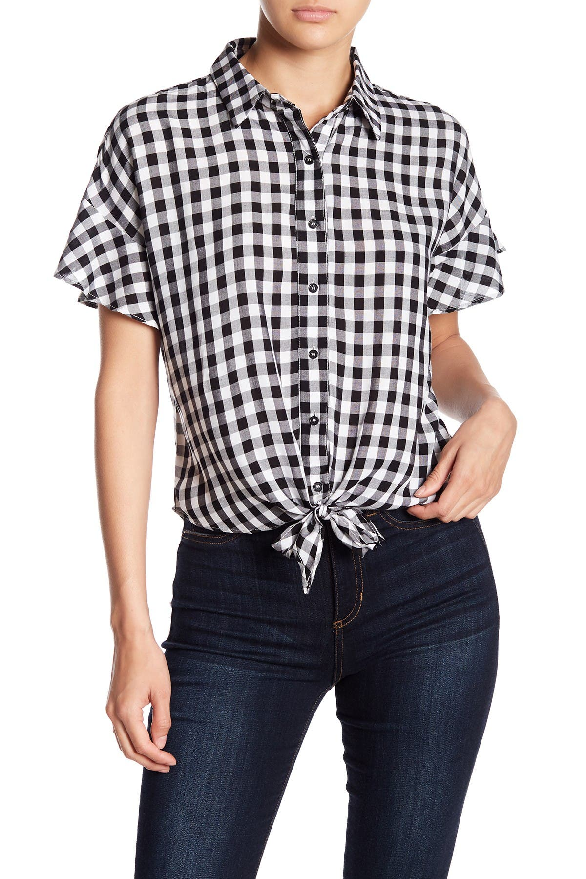Image of Love, Fire Gingham Tie Front Shirt