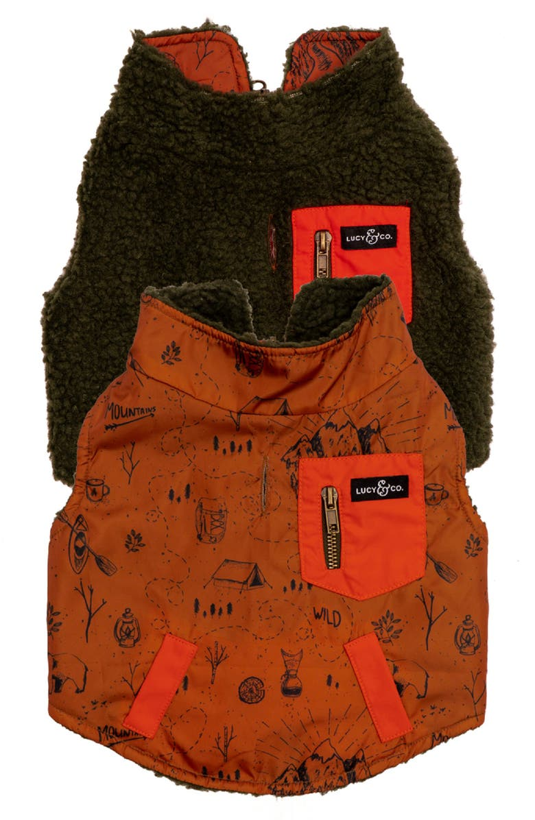 LUCY AND CO Lucy & Co. The Big Bear Reversible Teddy Fleece Dog Vest, Main, color, BIG BEAR