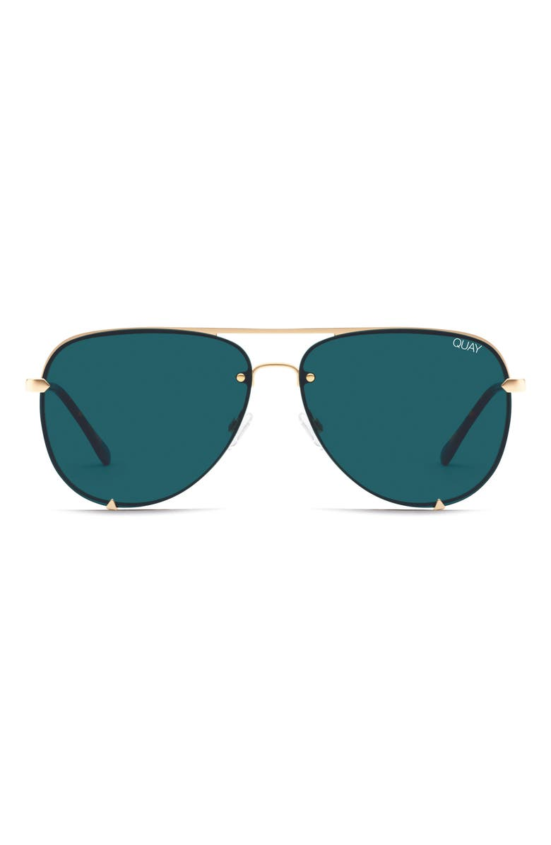 QUAY AUSTRALIA x Desi Perkins High Key 65mm Rimless Aviator Sunglasses, Main, color, GOLD/ TEAL
