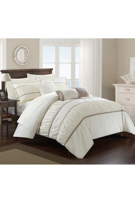 Image of Chic Home Bedding Aero Pleated & Ruffled King Bed In a Bag Comforter 10-Piece Set, Beige