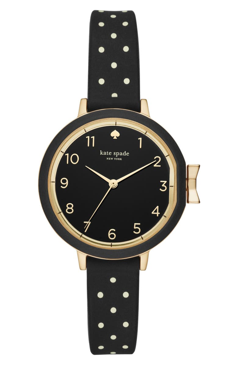 KATE SPADE NEW YORK park row silicone strap watch, 34mm, Main, color, BLACK/ GOLD