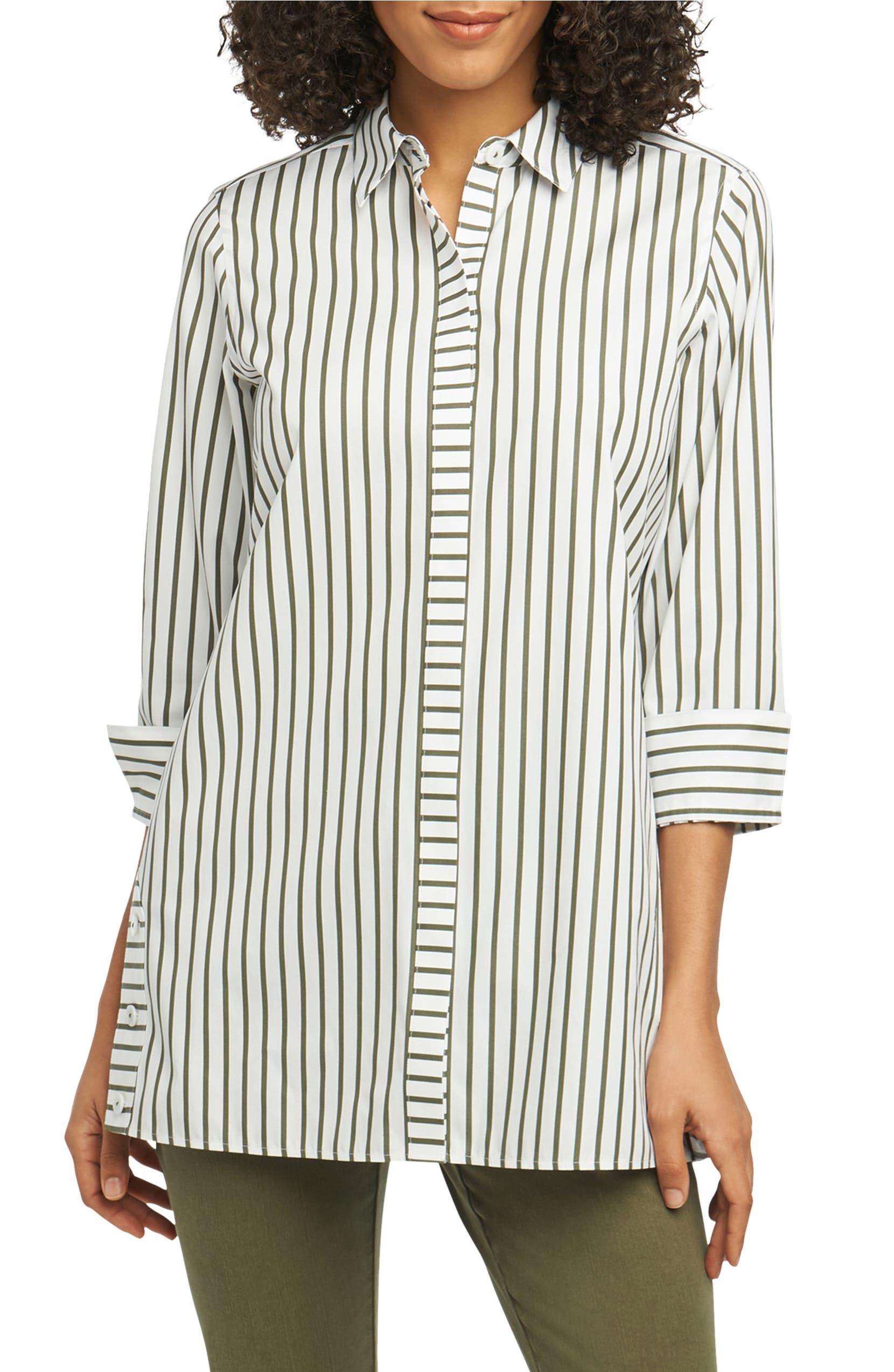 add33ac7b06 Foxcroft Wanda Stripe Tunic Shirt   Nordstrom