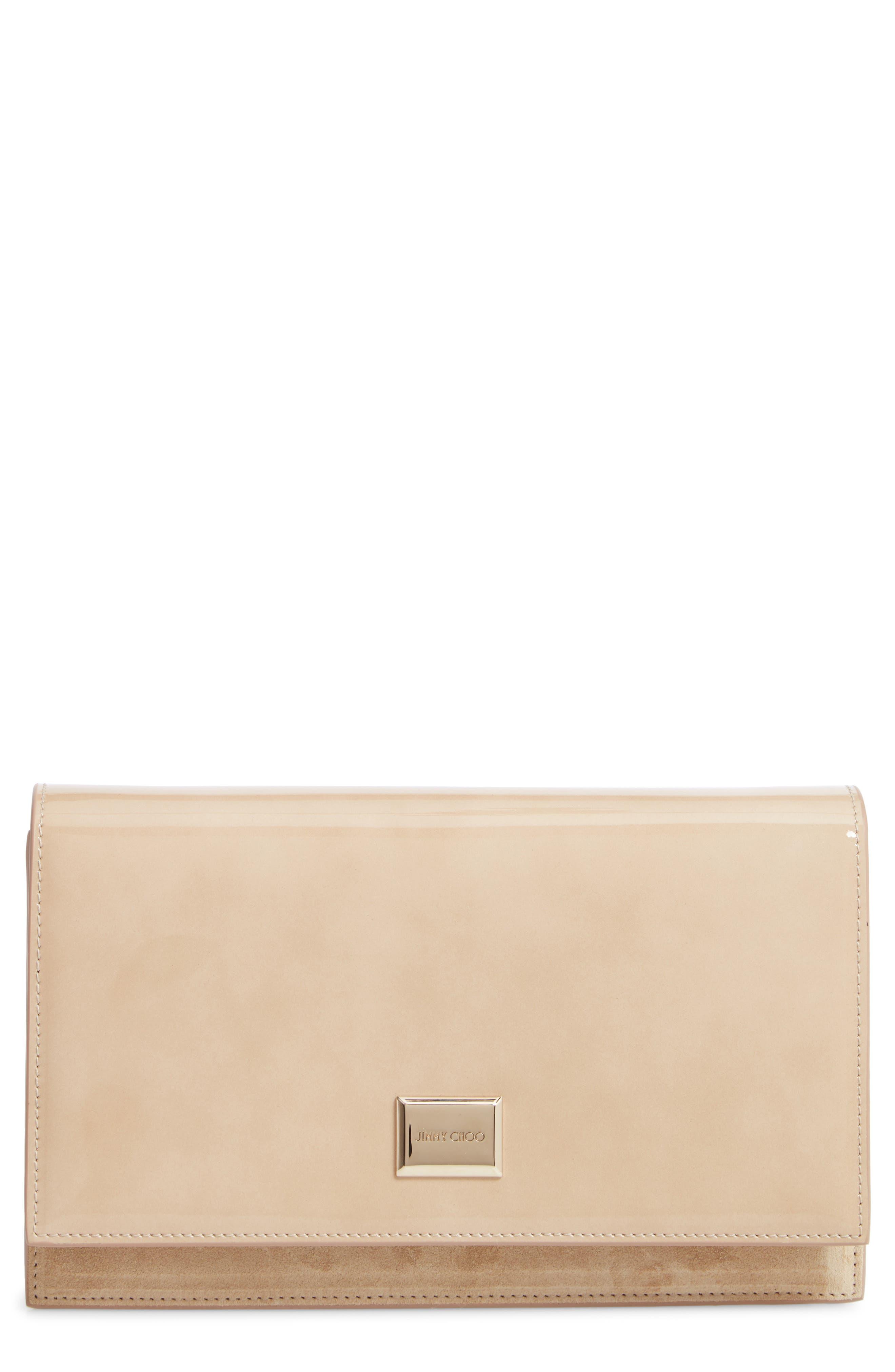 Lizzie Patent Leather & Suede Clutch, Main, color, NUDE