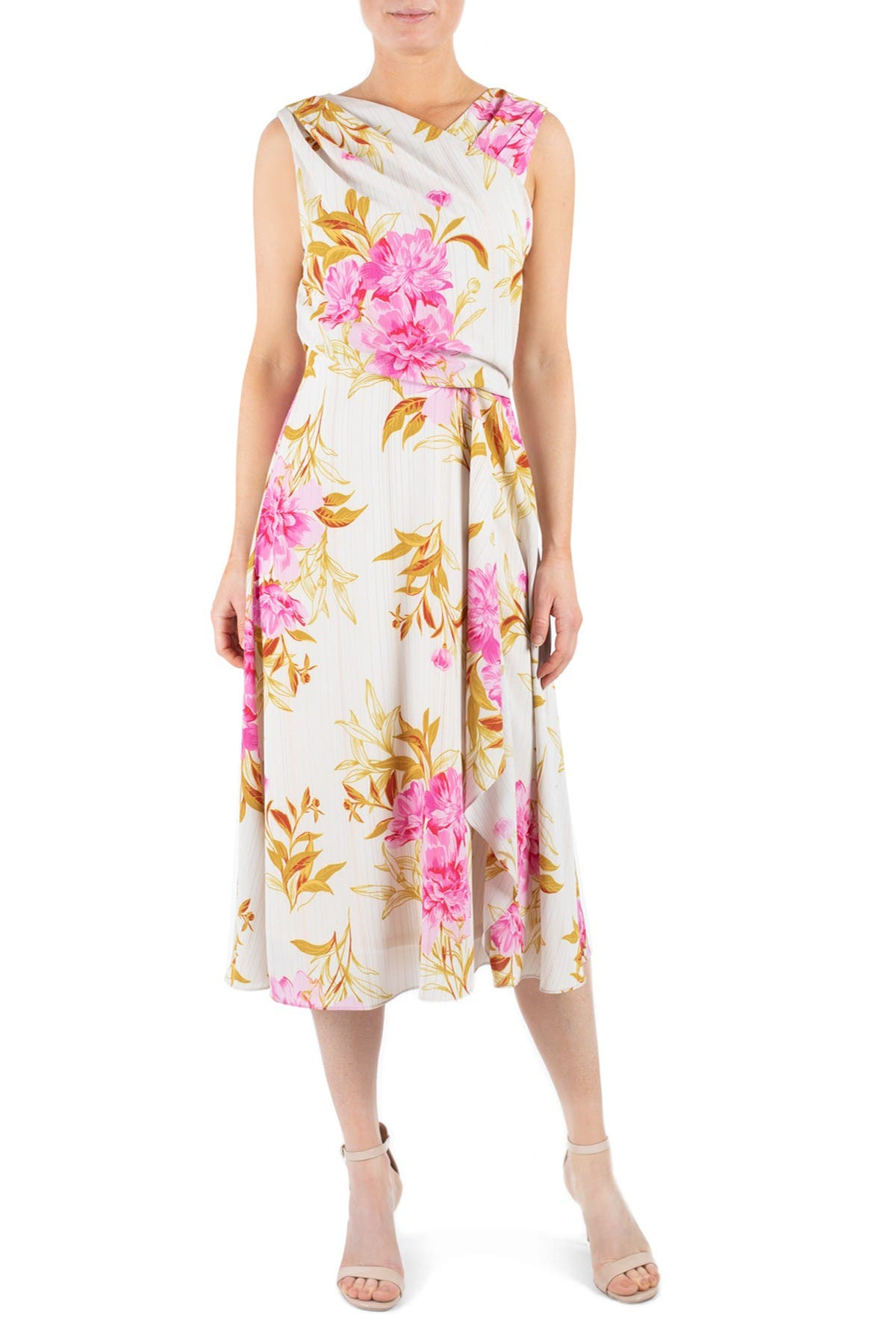 Image of Donna Ricco Sleeveless Surplice Asymmetric Dress