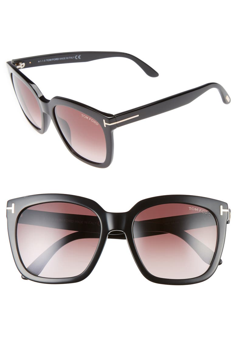 TOM FORD Amarra 55mm Gradient Lens Square Sunglasses, Main, color, BLACK/ GRADIENT BURGUNDY