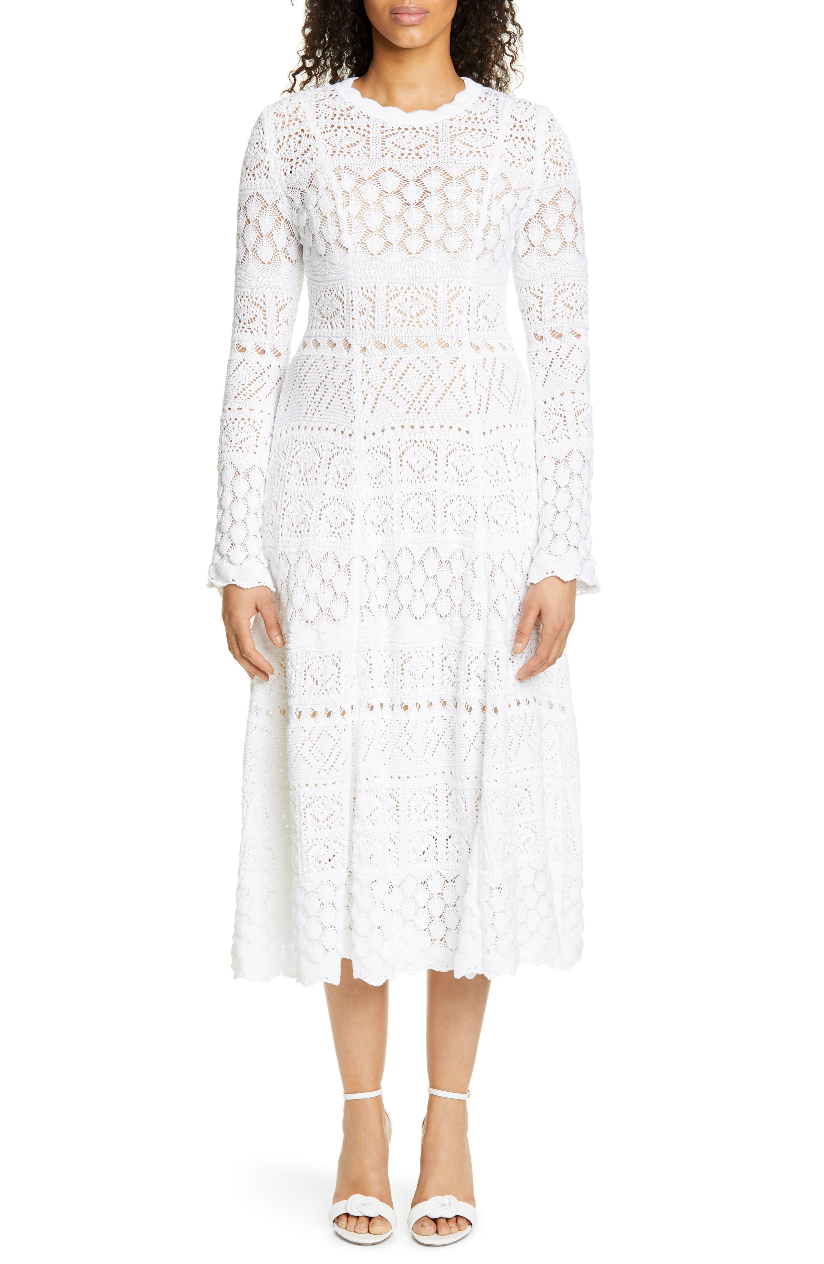 Carolina Herrera Crochet Midi Dress, White