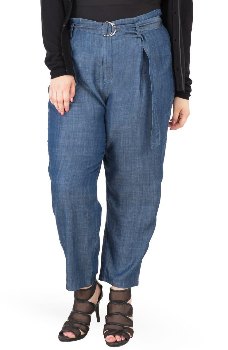 STANDARDS & PRACTICES Marina Belted Paperbag Waist Pants, Main, color, BLUE