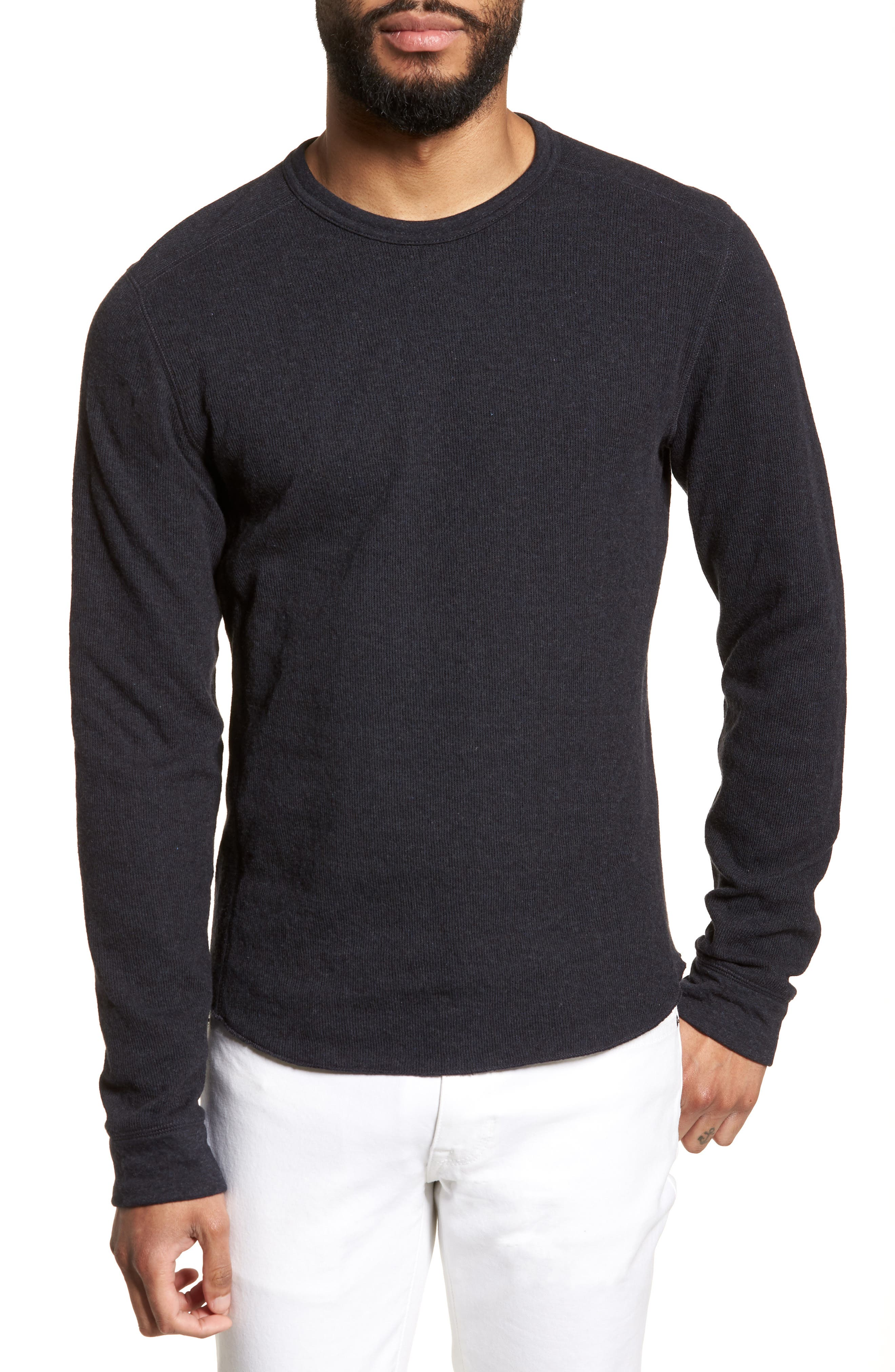 Double Knit Slim Fit Long Sleeve T-Shirt, Main, color, MANHATTAN NAVY