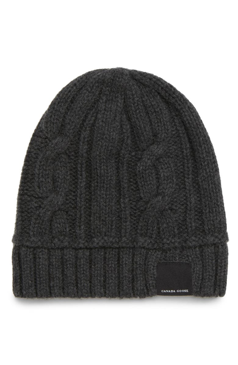 CANADA GOOSE Cabled Merino Wool Toque Beanie, Main, color, IRON GREY