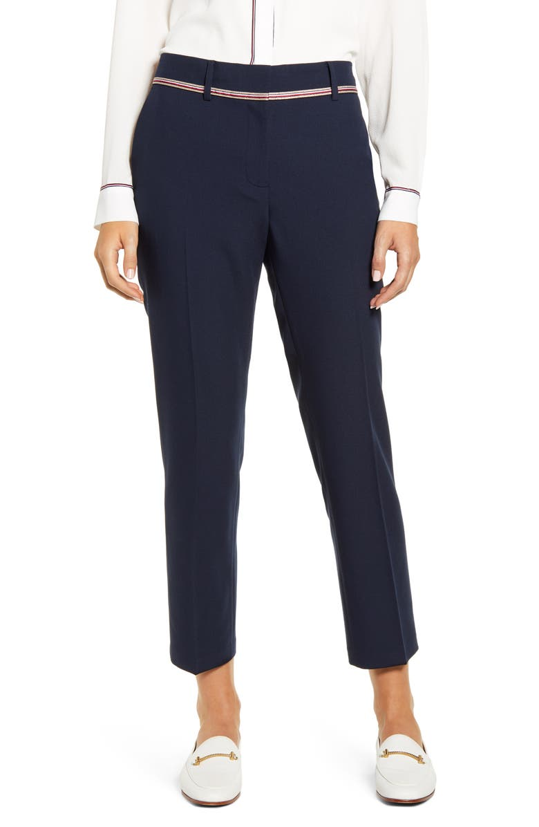 TOMMY HILFIGER Stretch Twill Ankle Pants, Main, color, SKY CAPTAIN