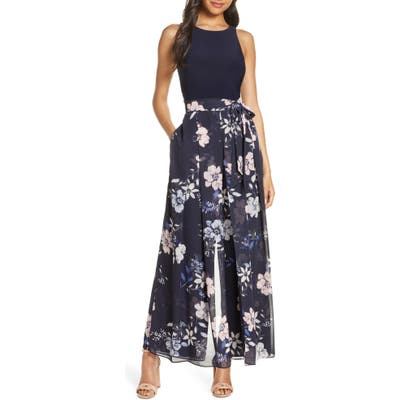 Vince Camuto Floral Sleeveless Jumpsuit, Blue