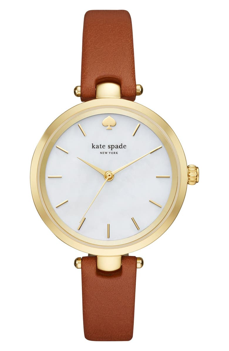 KATE SPADE NEW YORK 'holland' round leather strap watch, 34mm, Main, color, BROWN/ MOTHER OF PEARL