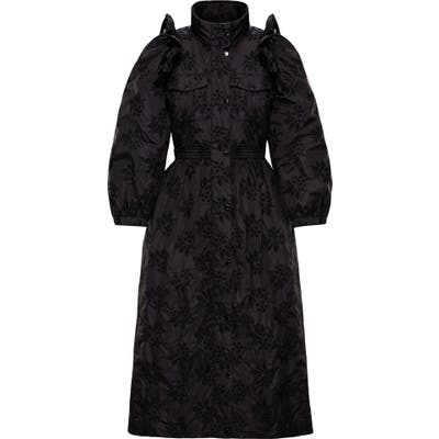 Moncler Genius X 4 Simone Rocha Floral Embroidered Coat, (fits like 2-4 US) - Black