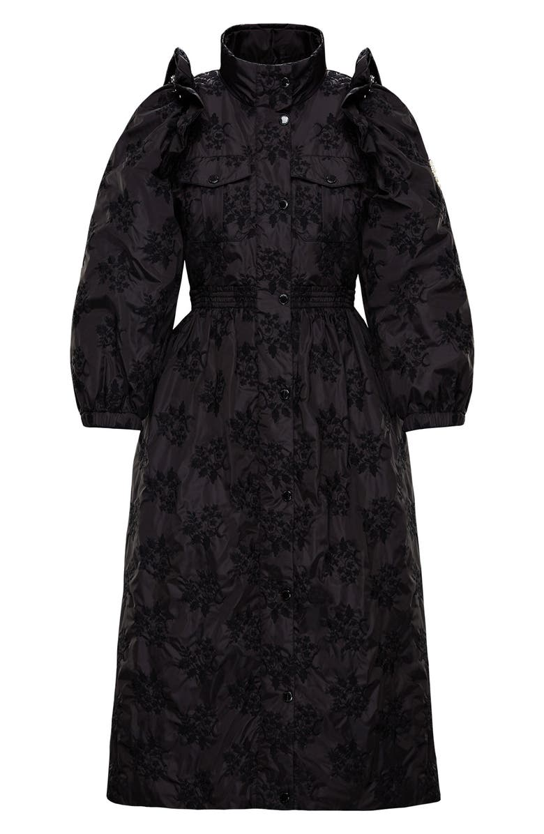 MONCLER GENIUS BY MONCLER x 4 Simone Rocha Floral Embroidered Coat, Main, color, BLACK