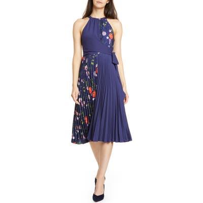 Ted Baker London Hedgerow Halter Pleat Dress, Blue