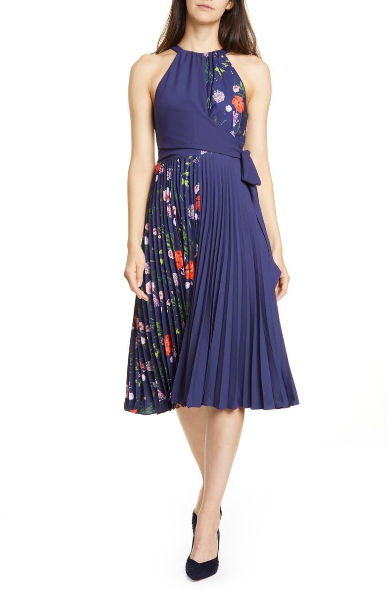 TED BAKER LONDON Hedgerow Halter Pleat Dress, Main, color, DARK BLUE