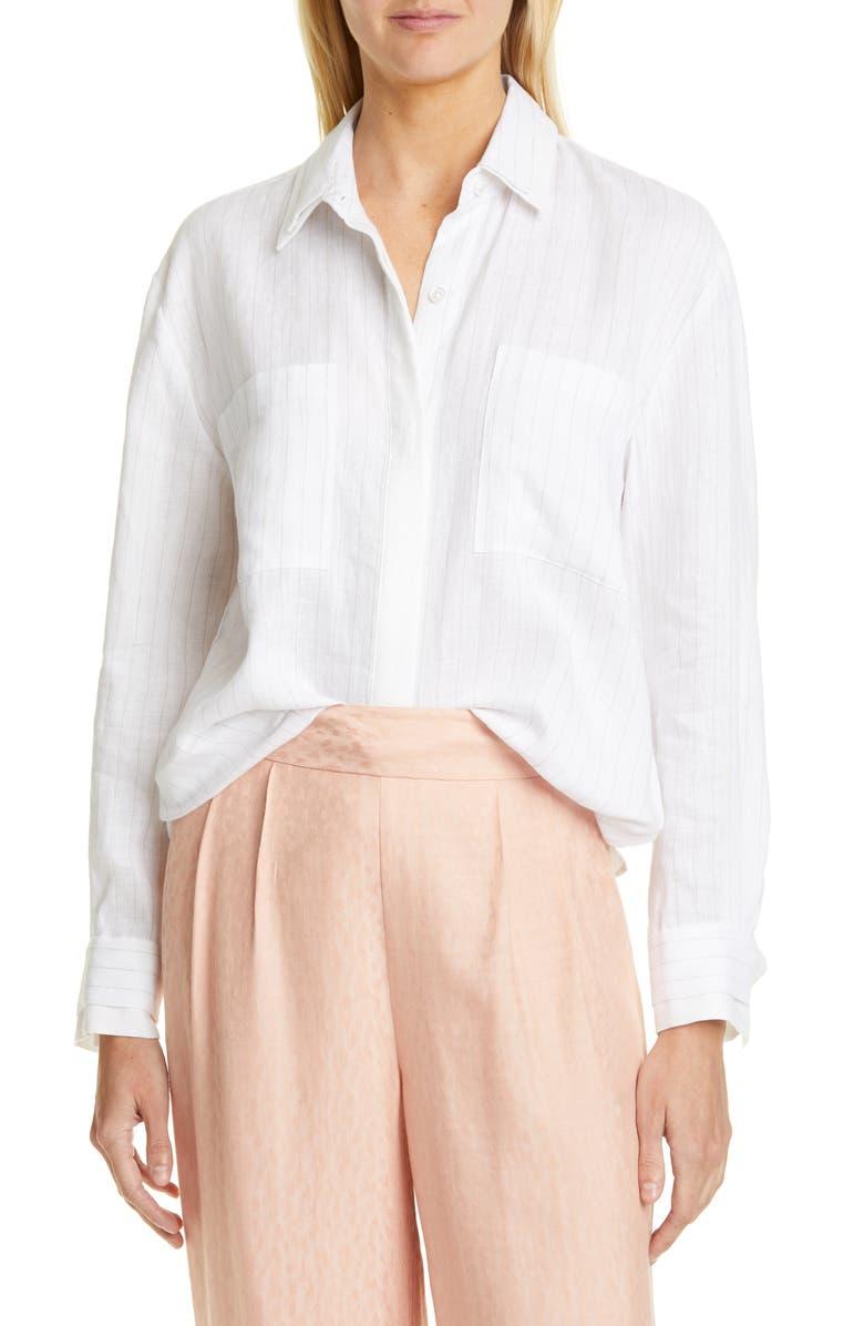 EQUIPMENT Aceline Stripe Linen Blouse, Main, color, BRIGHT WHITE SILVER