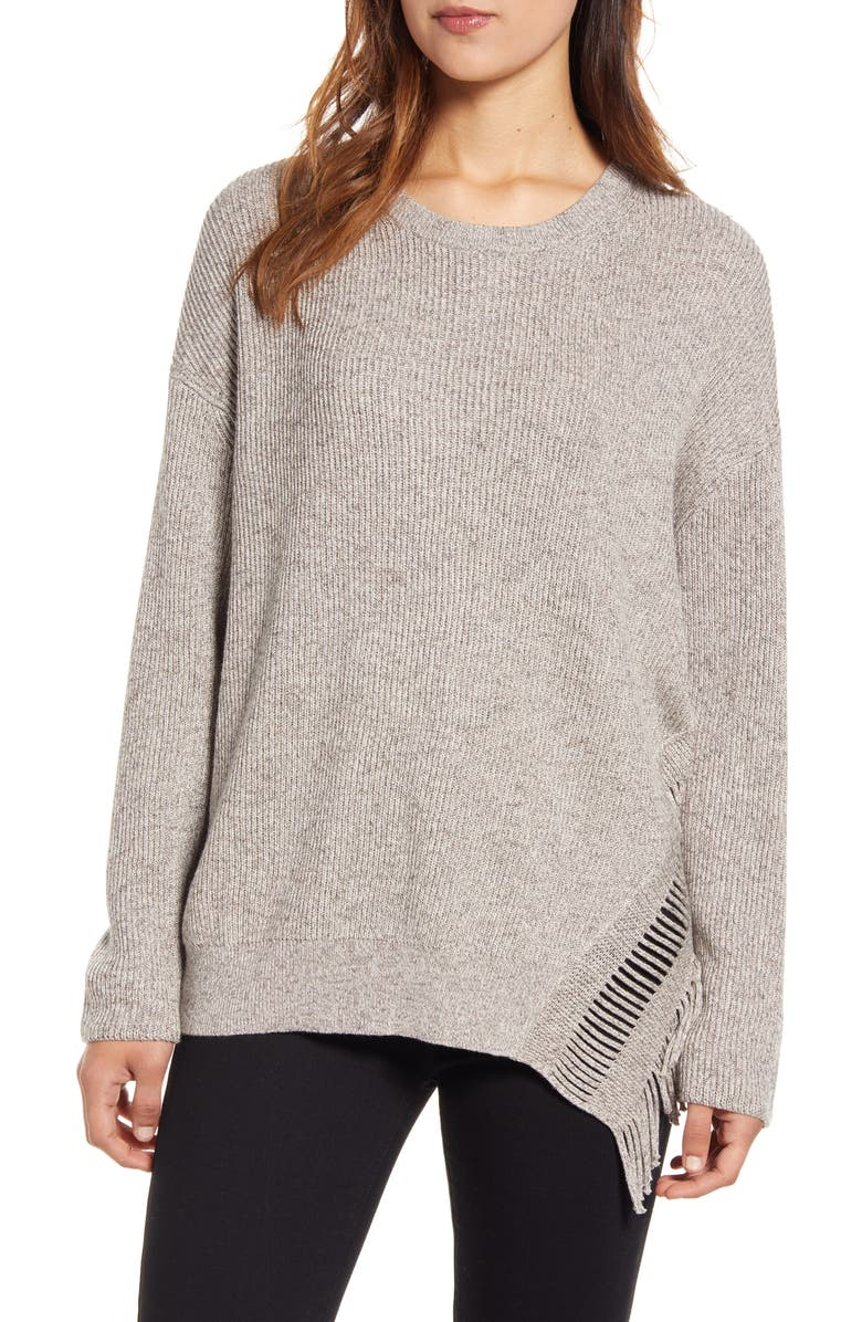 NIC+ZOE Fringe Times Sweater, Main, color, NEUTRAL MIX