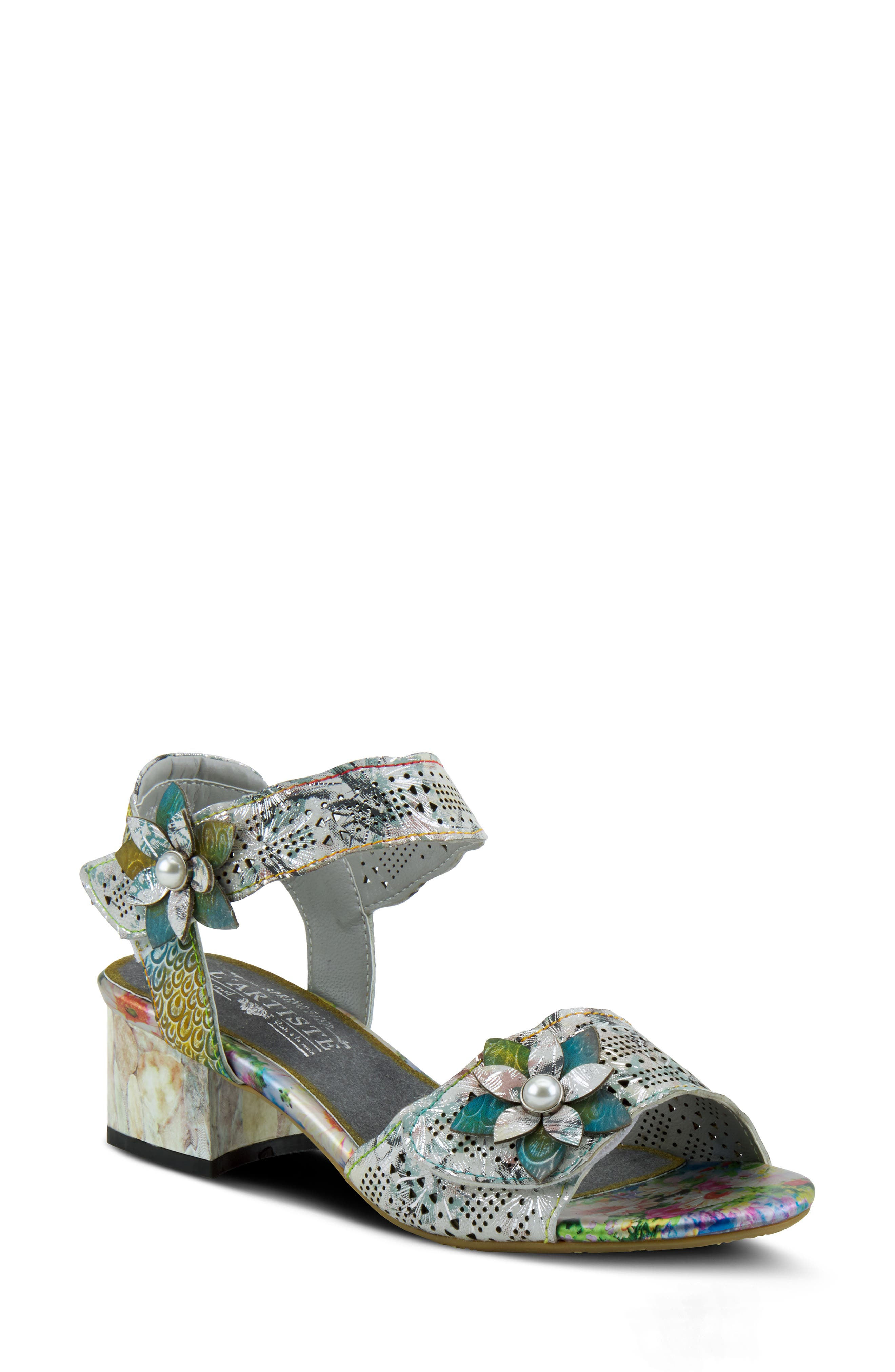 Pearly beads center the flower appliques of a beautifully embossed sandal featuring a bold range of hues. Style Name:L\\\'Artiste Freeform Sandal (Women). Style Number: 6000065. Available in stores.