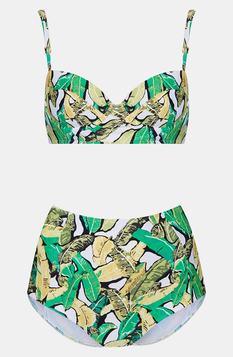 TOPSHOP Banana Leaf Bikini, Main, color, 300