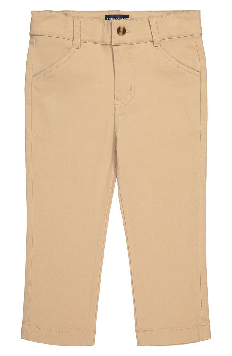 ANDY & EVAN Stretch Twill Trousers, Main, color, MEDIUM BEIGE
