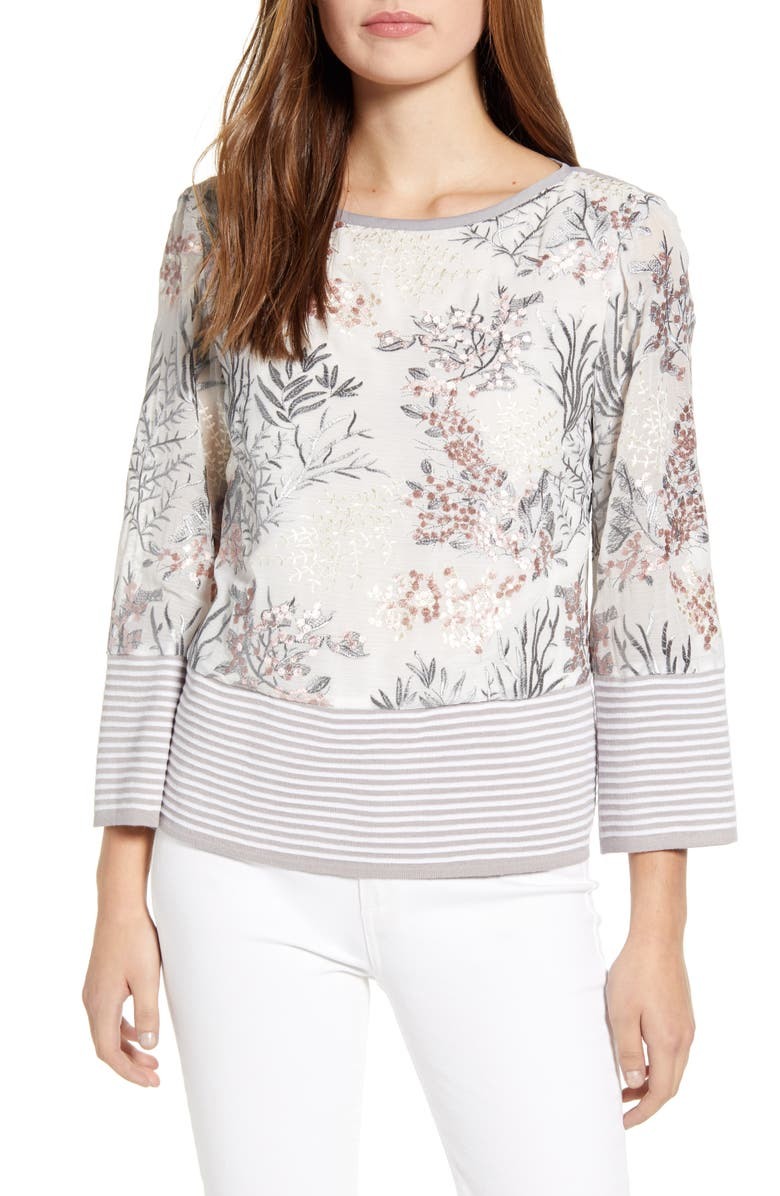 MING WANG Floral Embroidery Knit Top, Main, color, WT/ STRELG/ SUGAR