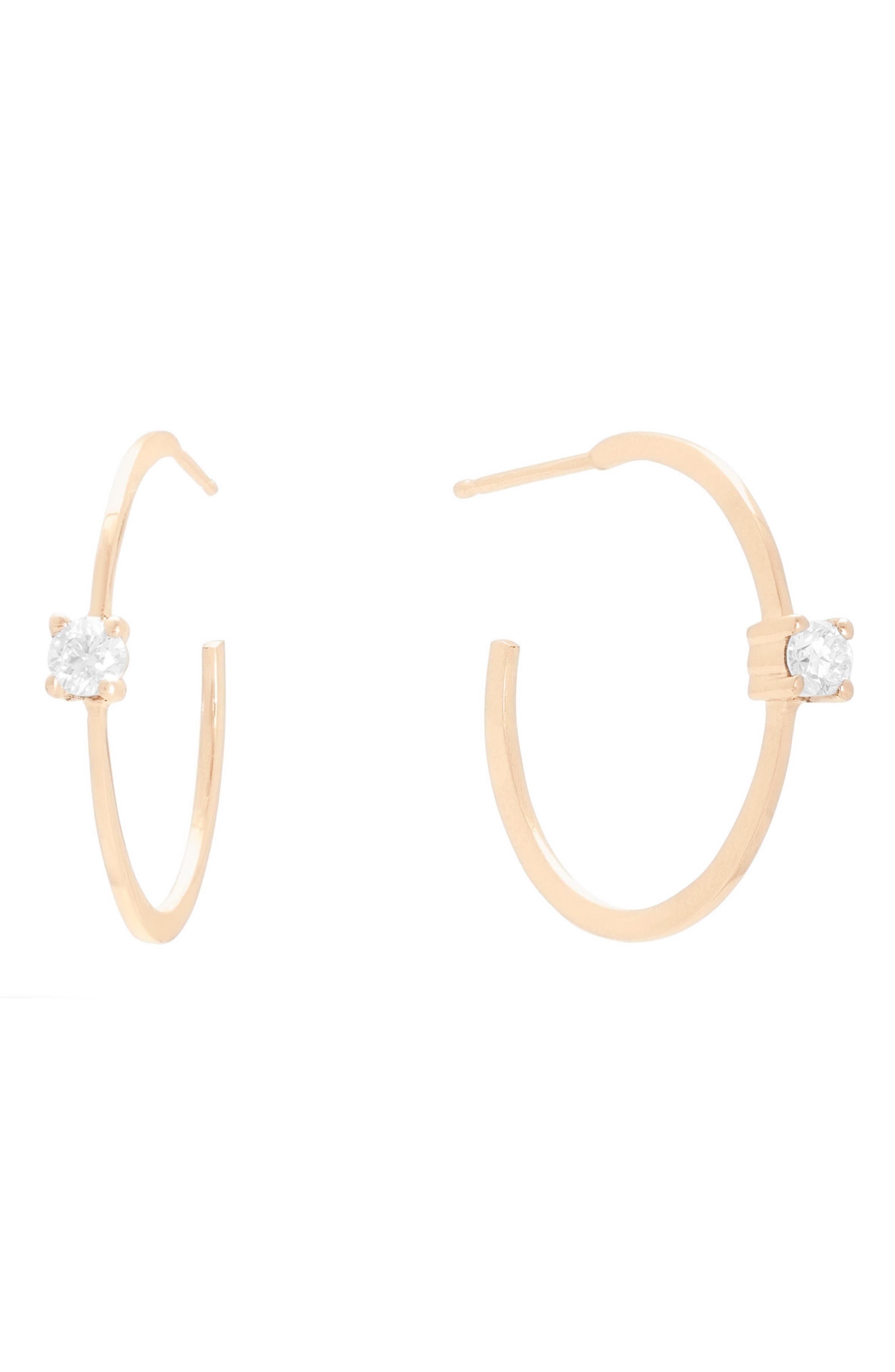Small Solo Oval Diamond Hoop Earrings