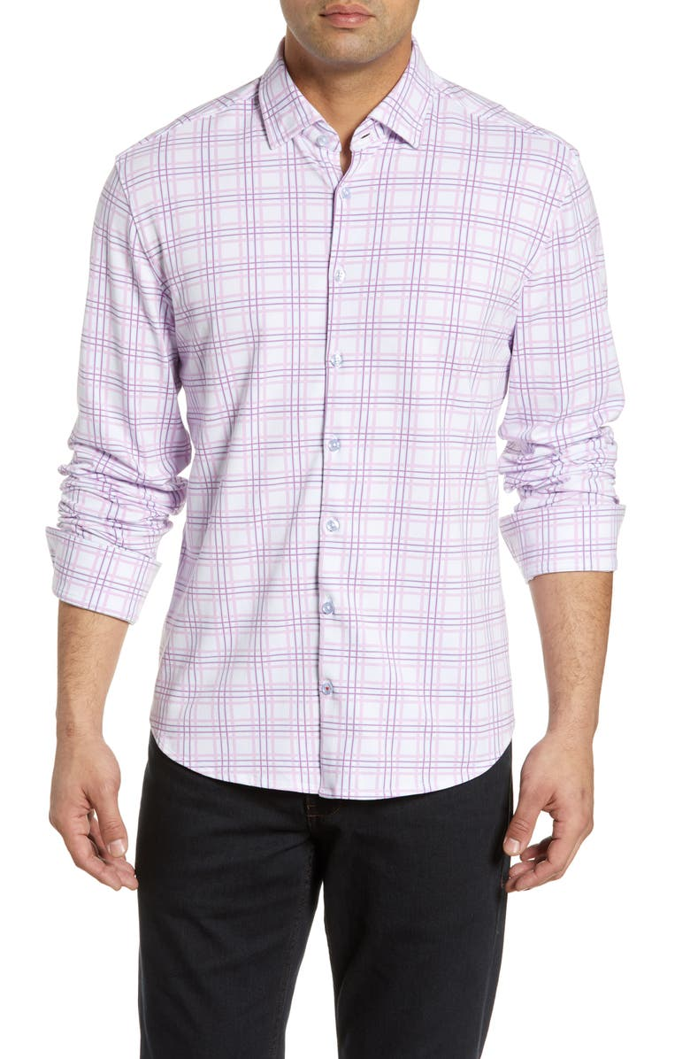 STONE ROSE Regular Fit Check Performance Knit Shirt, Main, color, PINK