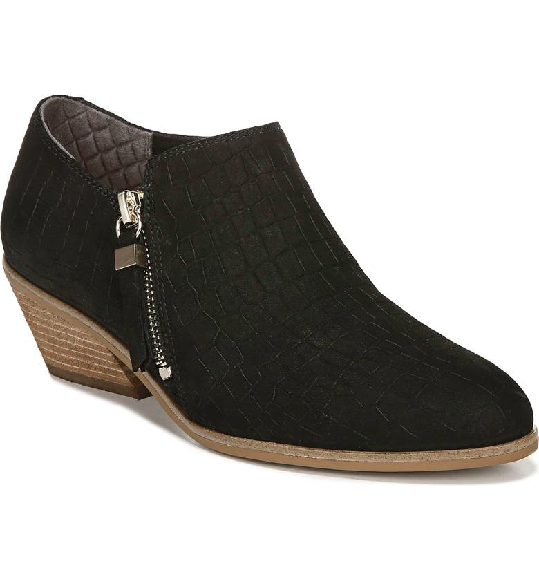 DR. SCHOLL'S Lose It Bootie, Main, color, BLACK EMBOSSED LEATHER