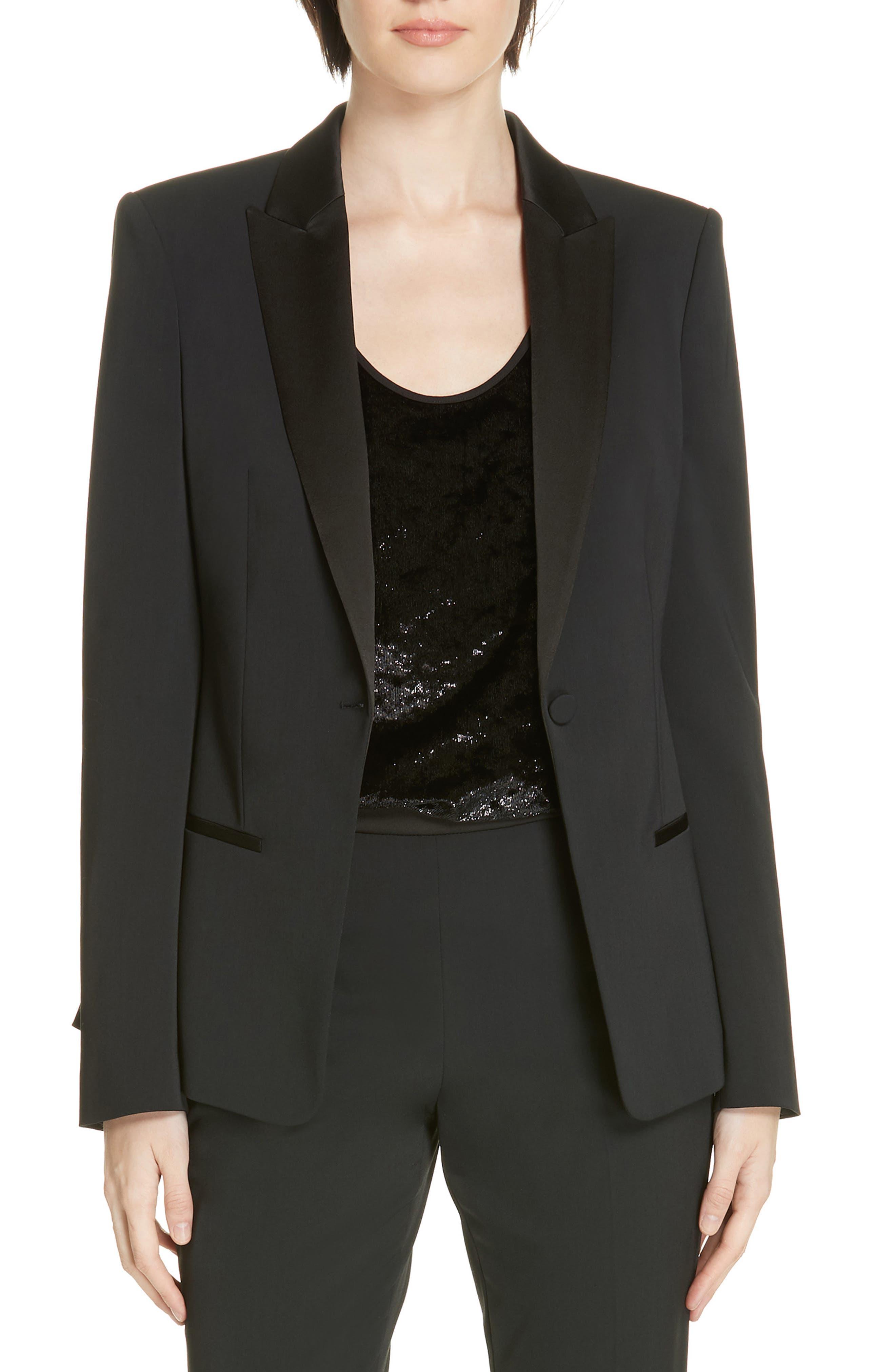 ,                             Jaxtiny Tuxedo Jacket,                             Main thumbnail 1, color,                             BLACK