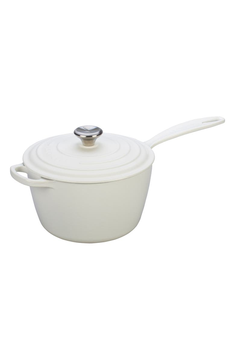 LE CREUSET Signature 3 1/4-Quart Cast Iron Saucepan, Main, color, WHITE